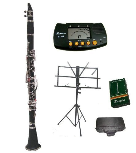 Merano B Flat Black / Silver Clarinet with Case+MouthPiece+Metro Tuner+Black Music Stand+11 Reeds by Merano