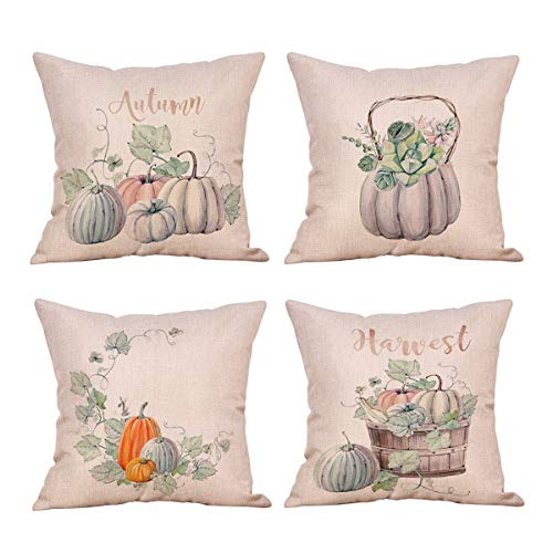 (Suptee 4 Pack Pumpkin Pillow Cover Autumn Flowers Leaves Decorations Cotton Linen Throw Pillow Case for Thanksgiving Fall Harvest Home Decoration (18 x 18 inch) (Green) )