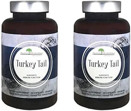 Aloha Medicinals - Pure Turkey Tail - Certified Organic Mushroom – Trametes Versicolor - Supports Immunity – Contains PSP and PSK – Health Supplement - 500mg - 90 Vegetarian Capsules (2 Pack)