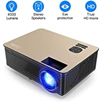4000 Lumens Projector, Full HD LED Multimedia 1920 x 1080P Video Projector Home Theater with Stero Sound System Compatible with Fire TV Stick, PS3, PS4, HDMI, VGA, TF, AV and USB