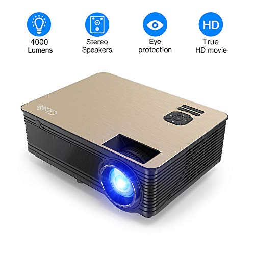 Cheap 4000 Lumens Projector, Full HD LED Multimedia 1920 x 1080P Video Projector Home Theater with Stero Sound System Compatible with Fire TV Stick, PS3, PS4, HDMI, VGA, TF, AV and USB