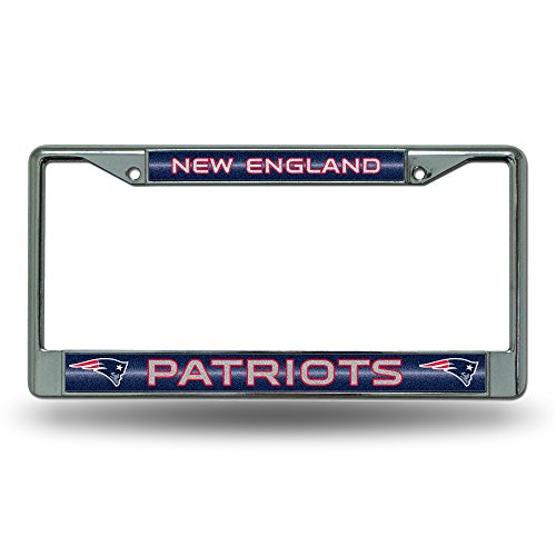 NFL New England Patriots Bling Chrome License Plate Frame with Glitter Accent