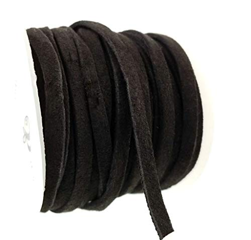 (5 Meter (16ft) Black Faux Suede Flat Fabric Leather Cord Spool for Jewelry Making, Crafts- Vegan Friendly -4mm)