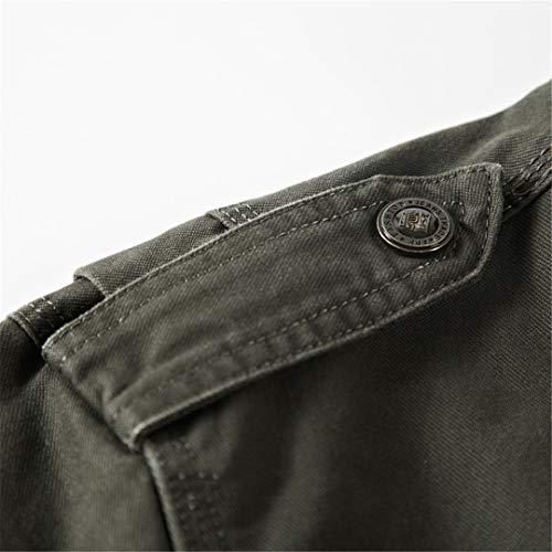 Da Giacca Multiple Kt Uomo Medio Tasche Khaki Collo Largo A amp;jacket Militare Con ZUwUWvS1q