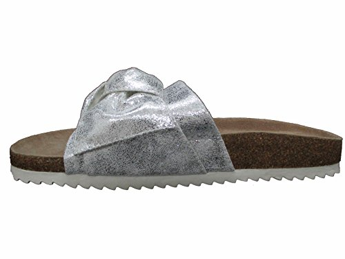 OOG Damen Sandale Pantolette Kork Optik Flip Ons mit Schleife Silber