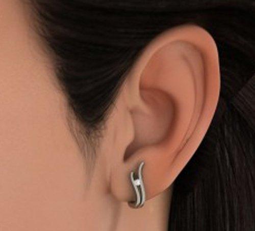 18K Or Blanc 0,06CT TW Round-cut-diamond (IJ | SI) Boucles d'oreilles créoles
