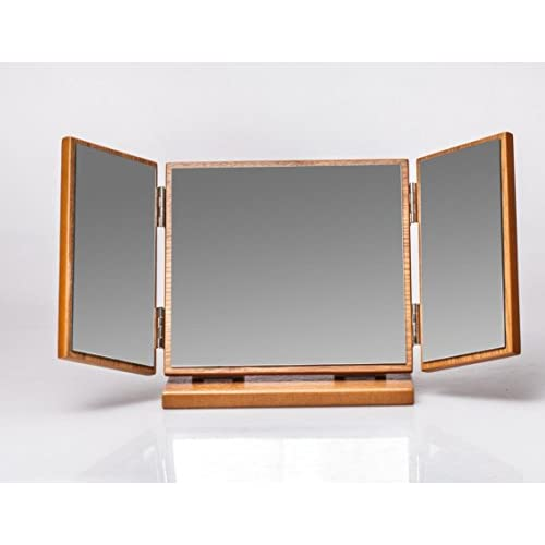 MXXYY HYT Handmade Wooden Retro Tri-Fold Mirror folding portable Countertop Makeup Mirror Home Decoration for Make Up well-wreapped