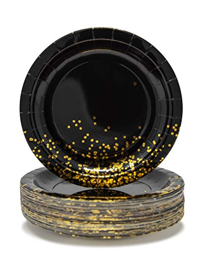 Party Chic Black and Gold Dot Party Pack Disposable 9 inch Gold Foil Dinner Plates Pack of 50 for Party Wedding Elegant Fancy Decorations Holiday Anniversary Birthday Supplies Bachelorette Bachelor -