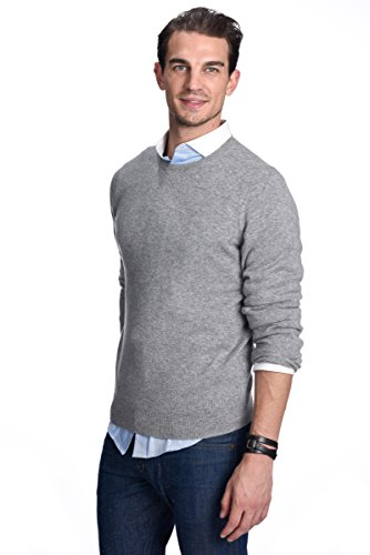 State Cashmere Men's 100% Pure Cashmere Long Sleeve Pullover Crew Neck Sweater (Large, Heather Grey)