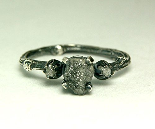 Rough Black Diamond Three Stone Engagement Ring in Black Sterling