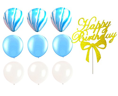 Elecrainbow 30 Pack 12 Inch Blue Scheme Balloons  10 Pack Latex Agate Blue Balloons   20 Pack Shining Light Blue Balloon   White Latex Balloons  1Pc  Happy Birthday  Cake Topper