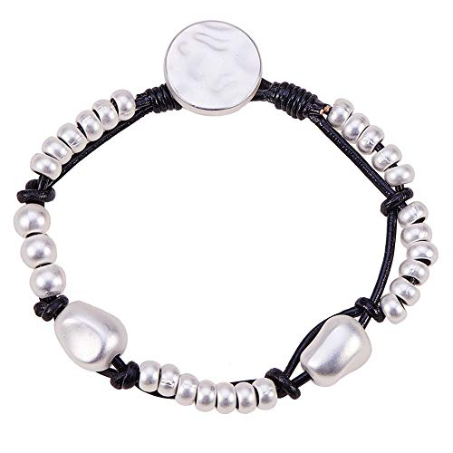 SUNNYCLUE 925 Sterling Silver Plated Rondelle Beaded Leather Wrap Bracelet Handmade Wrist Wristband Button Clasp 7.48