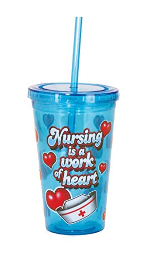Spoontiques Nurse Cup with Straw, Blue