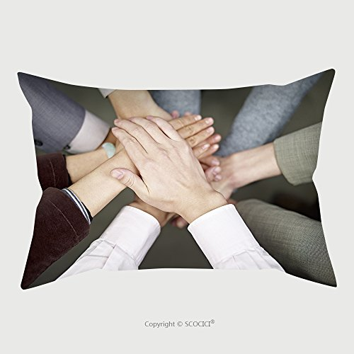 Custom Satin Pillowcase Protector Team Of Businesspeople Showing Unity By Putting Hands Together 176275058 Pillow Case Covers Decorative by chaoran