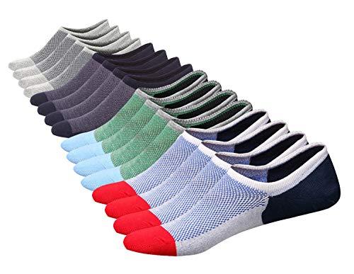 SIXDAYSOX Men's 8 Pairs No Show Socks Odor-Resistant Cotton Non Slip Low Cut Invisible Socks Mesh Knit 6-11