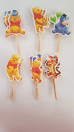 KBN 24pc Winnie the Pooh Cuppcake Toppers for Party Decorations Supply Birthday Kids