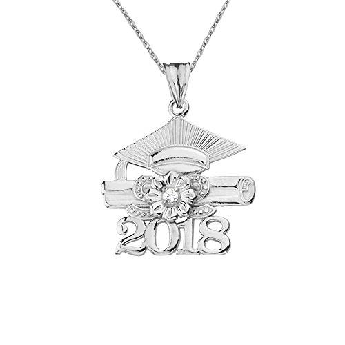 Dazzling Sterling Silver Diamond Class of 2018 Graduation Charm Pendant Necklace, 18