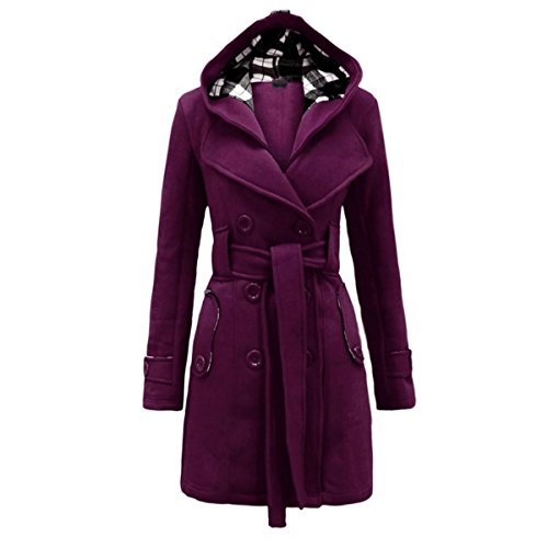LANMWORN Femmes Manche Longue Sweat  Capuche Hoodie Robe, Col Haut Poche Pocket Dcontracte Casual Slim Fit Pullover Sweat-Shirt Violet