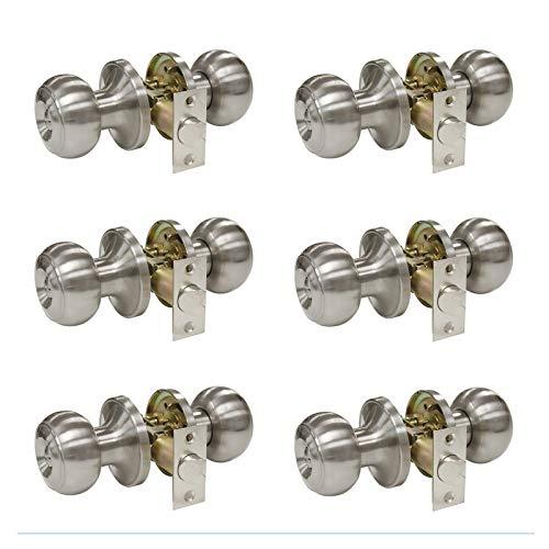 Lockset Ball Privacy (6 Pack Privacy Door Lock Storage Room Bathroom Keyless Lockset Flat Ball Set, Brushed Satin Nickel)