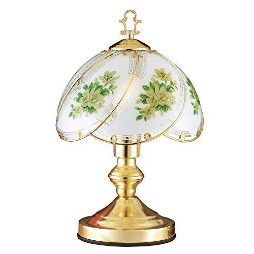 Collections Etc Gold-Tone Touch Lamp with Glass Shade Magnolia Floral Design - Perfect for Your Desk or Bedside Table