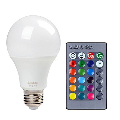 Sendida RGB LED Light Bulb   Color Changing With Remote Control, 4 Modes  And Dimmable E27 10W LEDS RGB+W Light Bulb