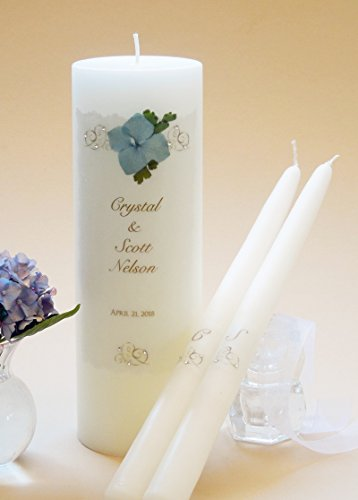 - Gold Elegance Wedding Unity Candles - Light Blue Hydrangea