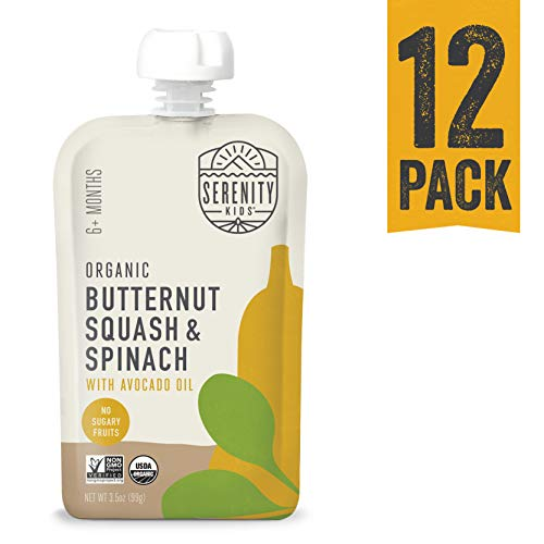 Serenity Kids Baby Food, Organic Butternut Squash and Spinach with Avocado Oil, For 6+ Months, 3.5 Ounce Pouch (12 Count)