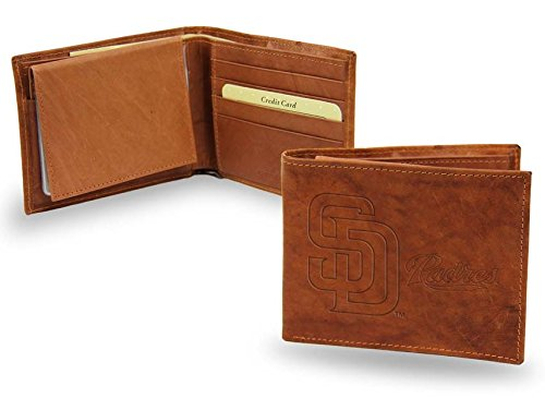 San Diego Padres Embossed Leather Bifold Wallet (Manmade Interior)