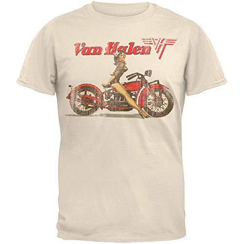 Van Halen - Mens Biker Pin Up T-Shirt 2X-Large White (Van Halen Albums In Order Of Release)