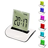 12h timer - CIGERA Color Changing Digital Alarm Clock with Wake-Up Light,Indoor Temperature,Calendar,Snooze and Timer,Battery Operated,White