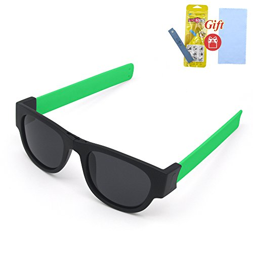 Fashion Folding Sunglasses with a clip. Sport sunglasses for beach and summer (Green legs, Black)