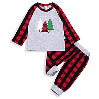 HAPPYMA 2Pcs Toddler Baby Boy Girl Long Sleeve Outfit T-Shirt Sweater Tops+Long Plaid Pants Fall Winter Clothes Set (Red, 6-12 Months)
