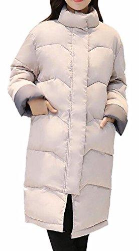 today-UK Women Fashion Cotton Padded Long Down Outwear Coat Jacket Beige
