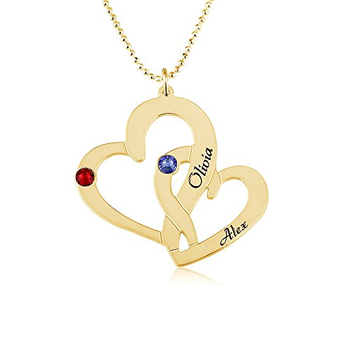 Mother Necklace Personalized Heart Necklace with Simulated Birthstones Engraved Necklace with up to 2 Names- 925 Sterling Silver Plated in 18k Gold (18) (Personalized Heart Silver Plated)