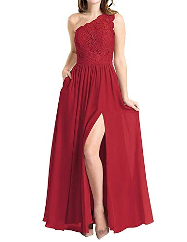 BBCbridal Women's One Shoulder Long Evening Dress Lace Chiffon Bridesmaid Dress Side Split Prom Gowns Dark red Size 20