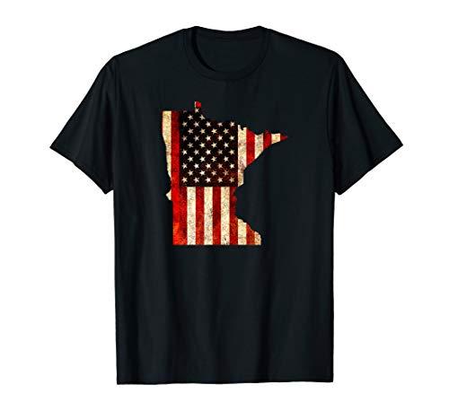 Minnesota American Flag T-Shirt / Stars and Stripes Shirt