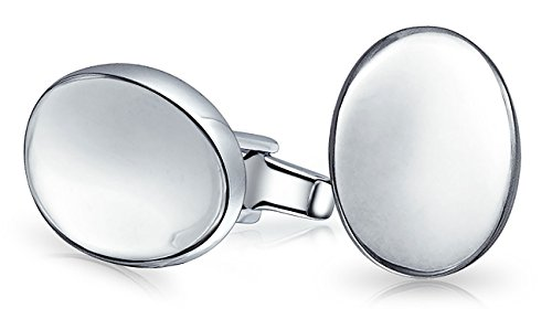 Engravable Simple Concave Oval Disc Cufflinks For Men Shirt Polished 925 Sterling Silver Graduation Gift Hinge