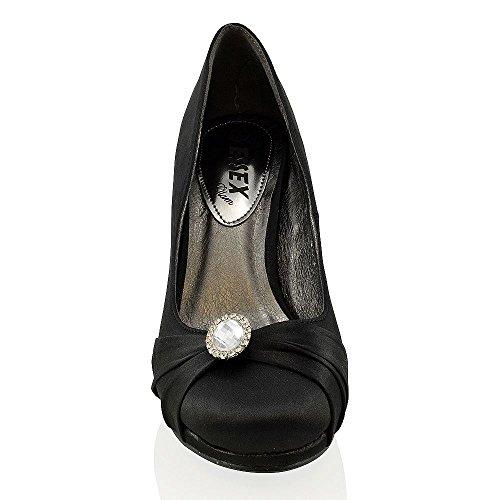 Satin Soir La Cour En Des Dames Talon Haut Sur Mariée Les Glisser De Des Noir Chaussures Du De Femmes Diamante Plate forme ZZHUaxR