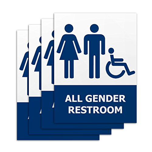 All Gender Restroom Signs - 4 Pieces - Rust Free - Clear And Visible Text - Light Tough Long-Lasting - Easily Install On Comfort Room Doors - For Men Women & Persons With Disability