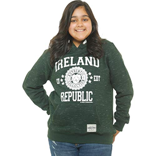 b80bb2f96 Irish Connexxion Kids Pullover Hoodie with Ireland Stamp Stars Print,  Forest Green Colour