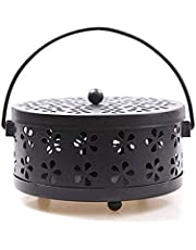Mosquito Coil Holder Portable Hollow Metal Incense Holder Tray with Lid Store - Black