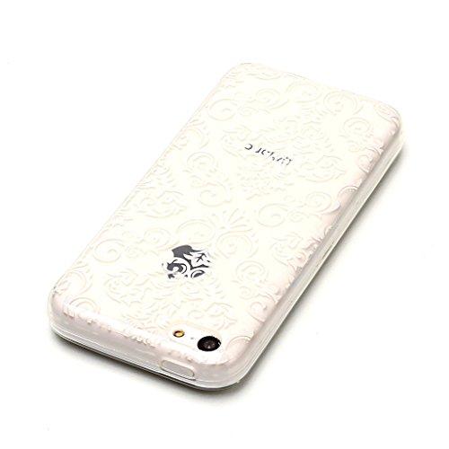 Crisant Schönes Muster Drucken Design weich Silikon Ultra dünn TPU Transparent schutzhülle Hülle für Apple iPhone 5C,Premium Handy Tasche Schutz Case Cover Crystal Bumper Schale für Apple iPhone 5C