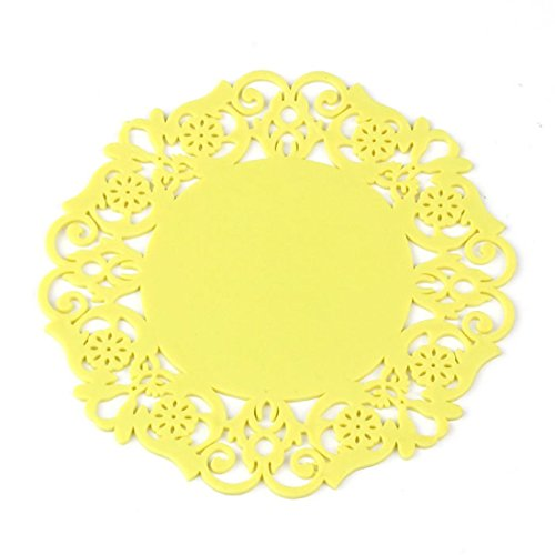 FAPIZI Lovely Silicone Lace Flower Cup Coaster Nonslip Cushion Placemat - Plate Yellow Flowers