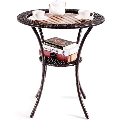 Giantex Round Rattan Wicker Coffee Table Glass Top Steel Frame Patio Furni W/Lower Shelf (Round)
