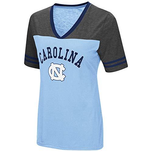 (Colosseum Women's NCAA Varsity Jersey V-Neck T-Shirt-North Carolina Tar Heels-Carolina Blue-XL)