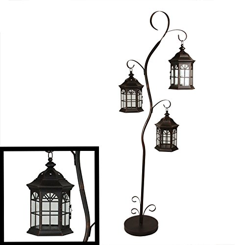 Northlight Rustic Weathered Copper Brown Pillar Candle Holder Tree with 3 Decorative Lanterns, 60″ For Sale