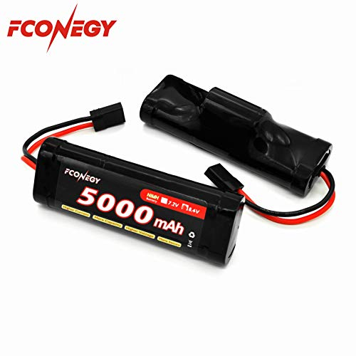 - Fconegy NiMH Battery 8.4V 5000mAh 7-Cell Hump Pack with Traxxas Plug for RC Cars, RC Truck