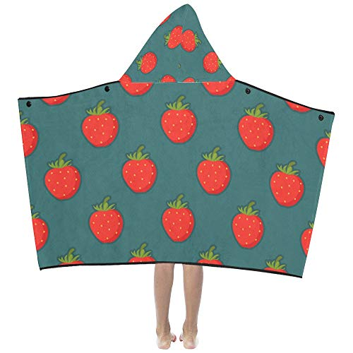 Danexwi Strawberry Fruit Fashion Soft Warm Cotton Blended Kids Dress Up Hooded Wearable Blanket Bath Towels Throw Wrap for Toddlers Child Girls Boys Size Home Travel Picnic Sleep Gifts Beach