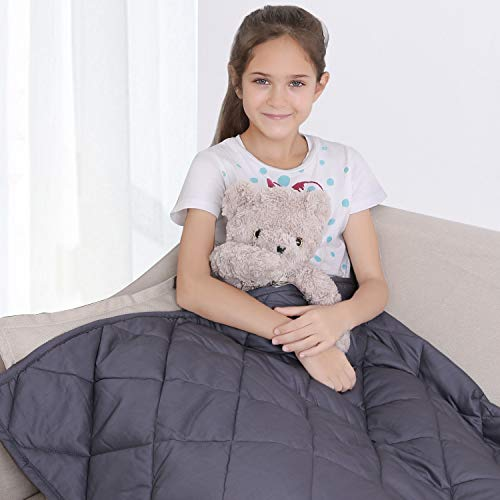 """bedextra Weighted Blanket 10lbs for Kids - 100% Organic Cotton 41"""" x 60"""" Cooling Heavy Blanket for 80-120lbs Individual with Glass Beads for Calmer Days and Restful Nights,3-Year Warranty"""