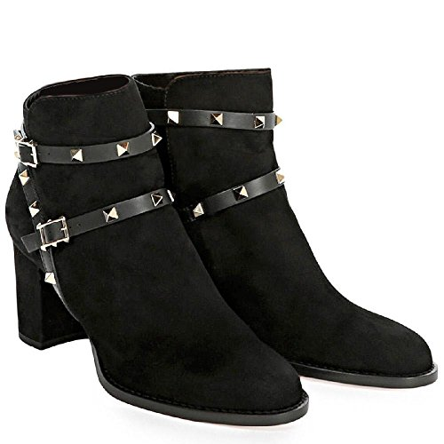 Valentino Women's Black Suede Leather Ankle Boots - Booties Shoes - Size: 5 (Valentino Suede Leather)